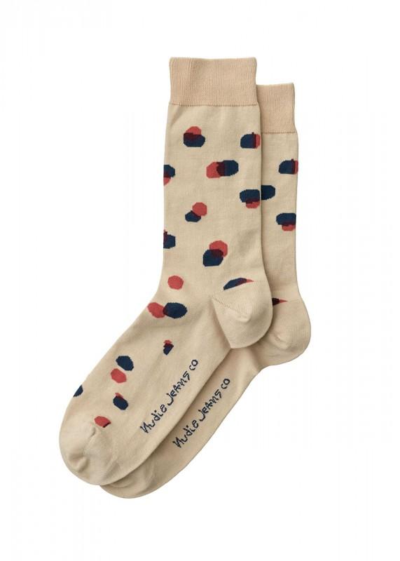 Nudie Jeans Socken Olsson Random Dots beige