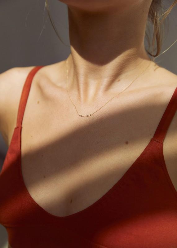 Delicate Curve Gold Necklace - zarte Goldkette