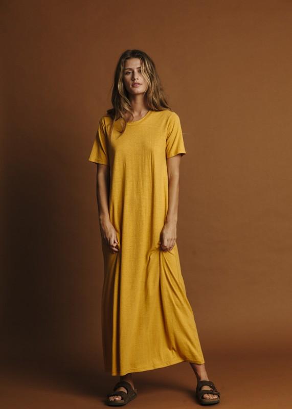 Thinking MU Hemp Queme Dress mustard