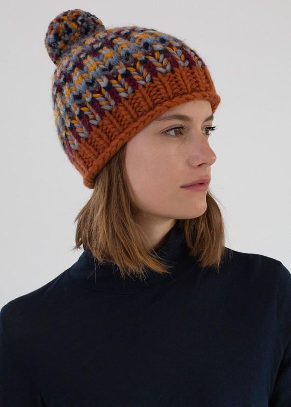 Mütze OSLO unisex, handgestrickt, red brown