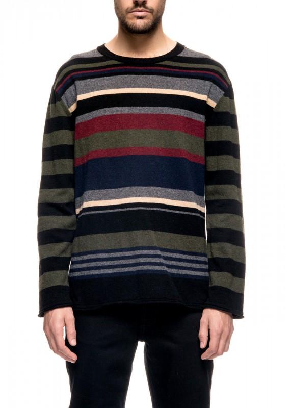Nudie Streifen Pullover gestrickt aus recycelter Wolle
