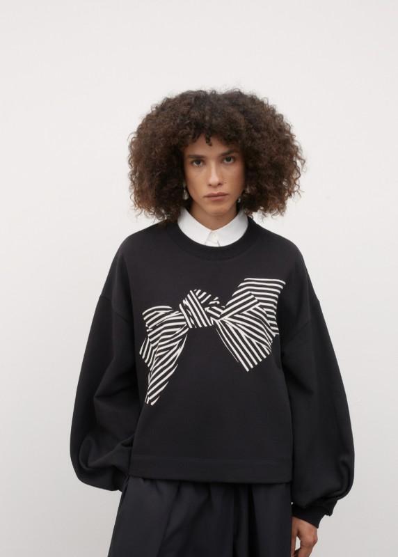 Kowtow Bow Print Sweater, Black