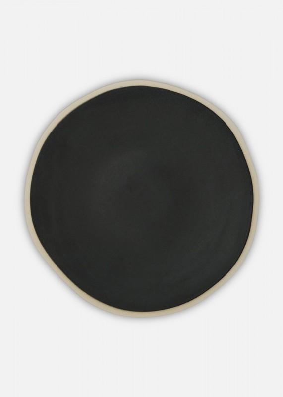 Folkdays - Teller mit Weßem Rand, 22 cm, Klein, schwarz