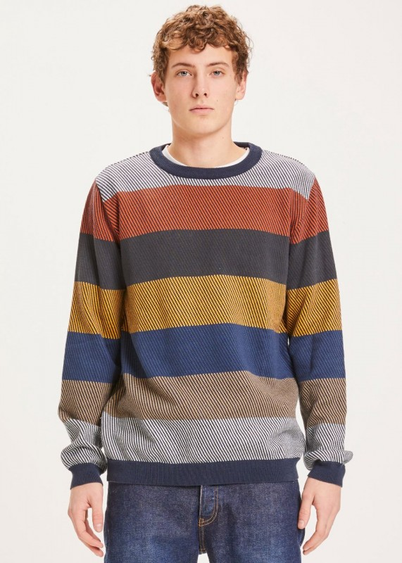FIELD O-neck two toned diagonal knit - GOTS/Vegan