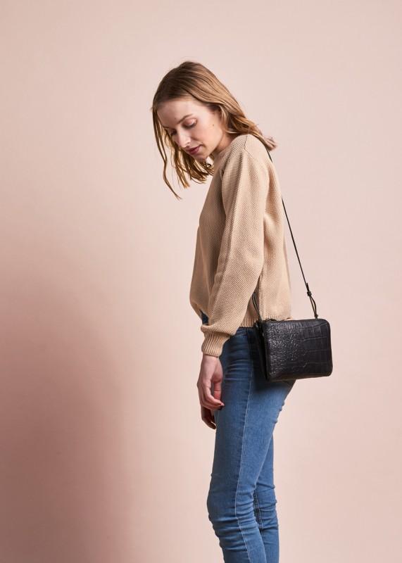 O My Bag Lola black croco soft grain