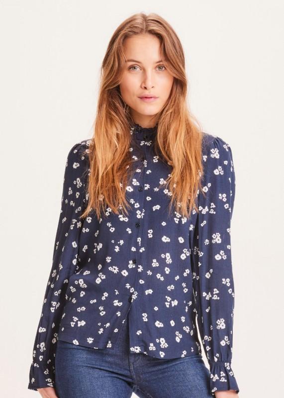 VERONICA Lenzing™ Ecovero™ Reg Ruffle Flower Print Shirt LS