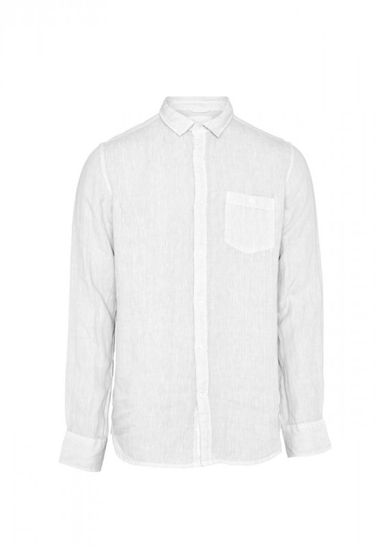 Knowledge Cotton Apparel Leinenhemd bright white
