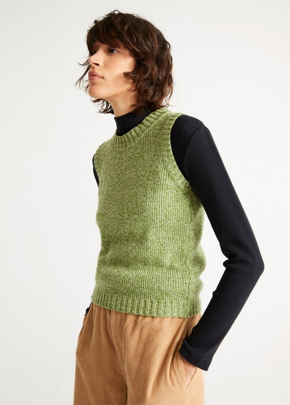 GREEN MUT KNITTED VEST