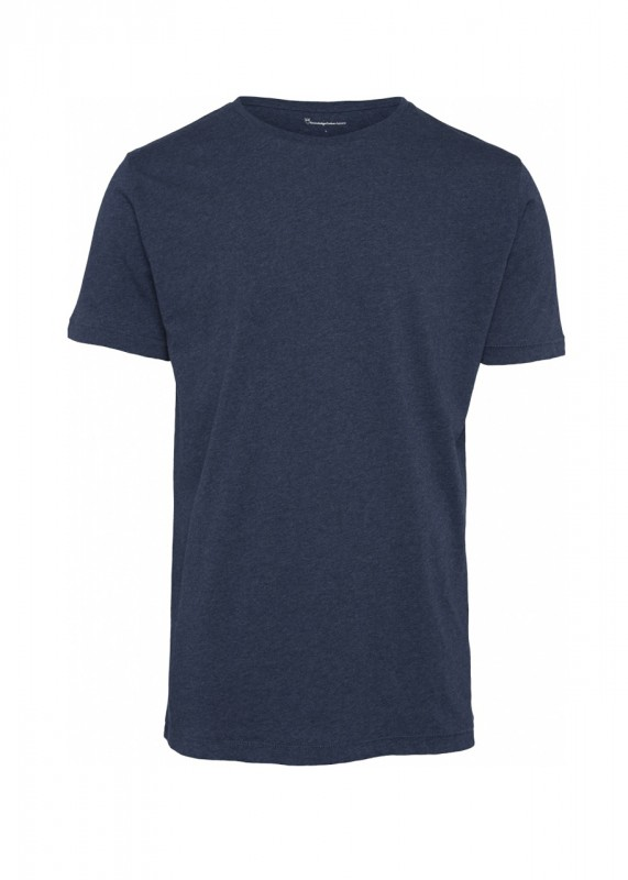 Knowledge Cotton Apparel Basic Shirt blau meliert