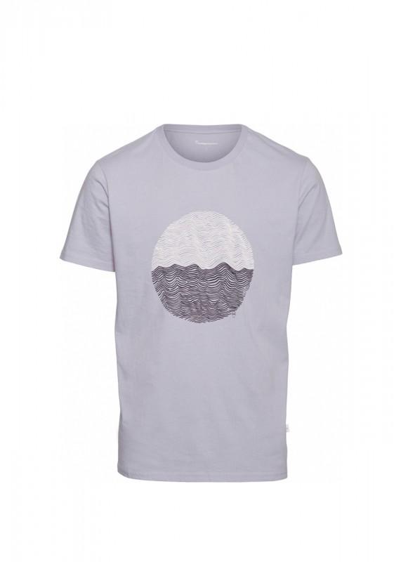 Knowledge Cotton Apparel Basic Shirt wave tee lavender blue