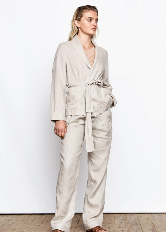 Prue - High Waist Linen Pants, oat beige