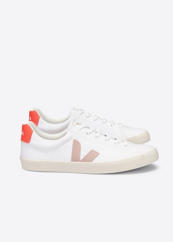 Veja ESPLAR Canvas Sneaker, White Babe Orange Fluo