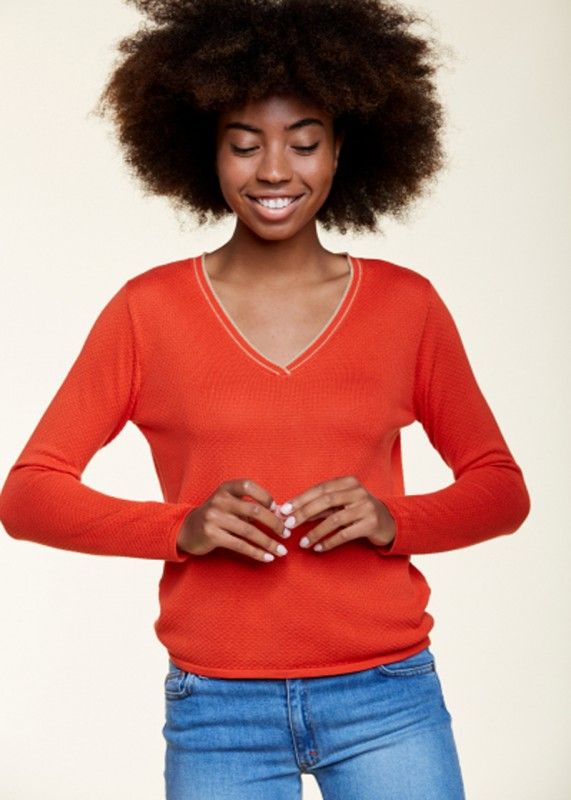 Les Racines Du Ciel - Bubble V Neck Sweater, red