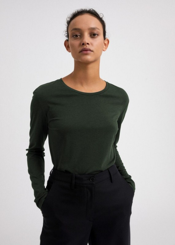 KOSMAA STRIPES Longsleeve Basic aus Tencel, vintage green