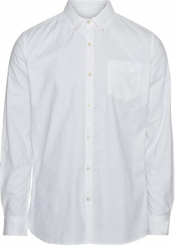 Knowledge Cotton Apparel Button Down Hemd Stretch weiß