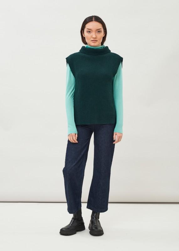 VANI - Ribbed Lambswool Vest, dark pine green