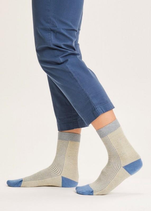 DIANE colorblock rib socks - GOTS/Vegan, blue