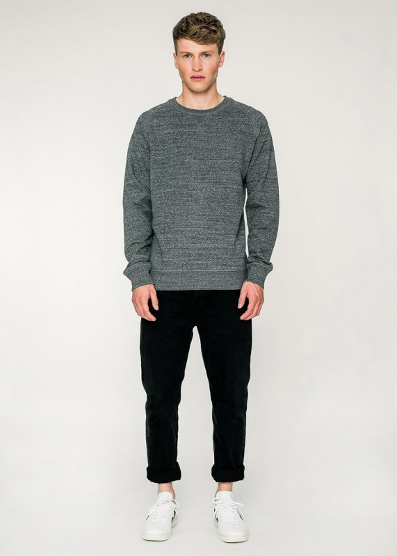 Rotholz Basic Crewneck Sweatshirt dunkelgrau meliert
