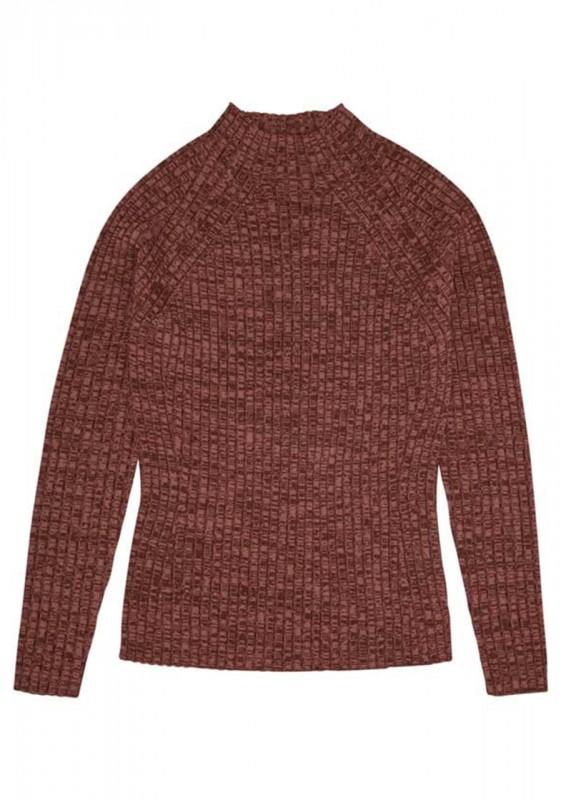 Melange Rib Pullover, umber melange