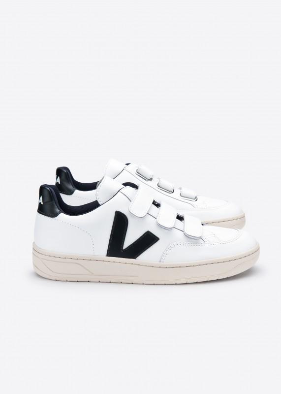 V12 Sneaker aus Leder, White Black