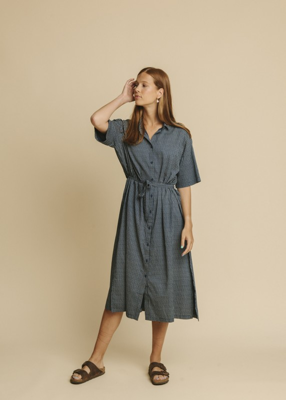 Thinking MU Mandy Dress cuadros blue