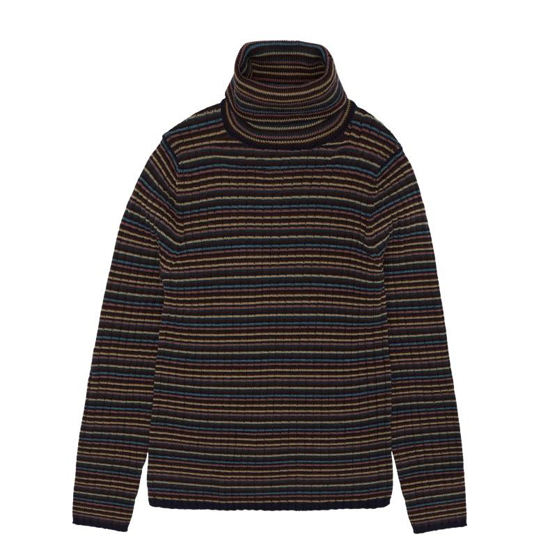 Rollneck Pullover aus Merinowolle, multi stripe