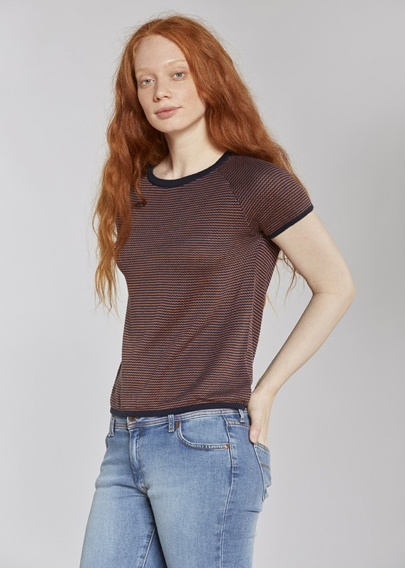 Les Racines Du Ciel Vintage short sleeves sweater navy caramel indigo