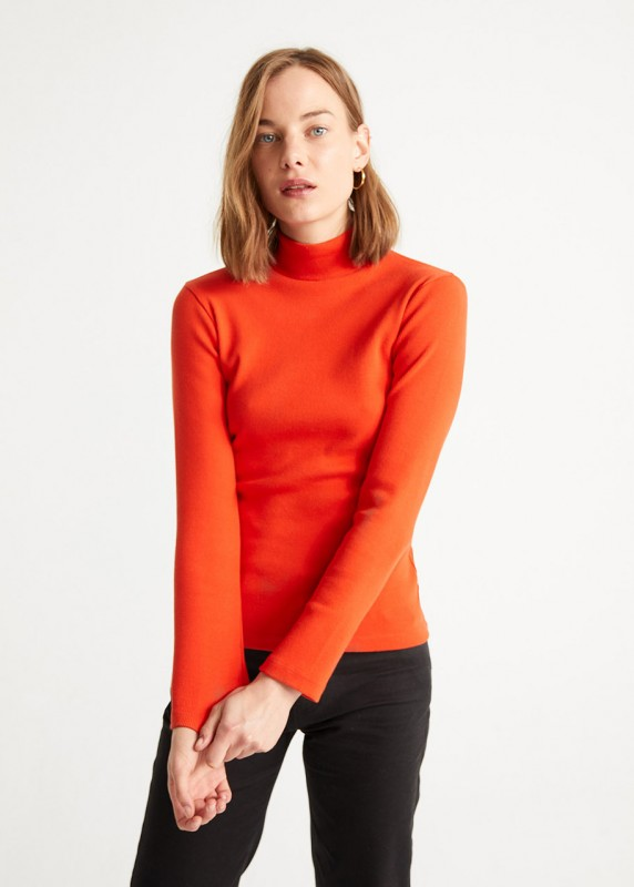 RED RIB AINE LS TOP
