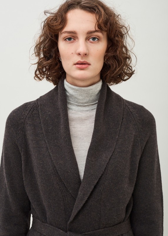 EVA - Belted lambswool cardigan with pockets