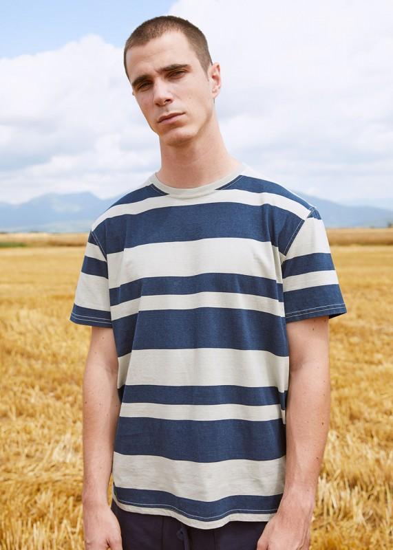 Sweaterhouse Shirt Blockstreifen olive-navy