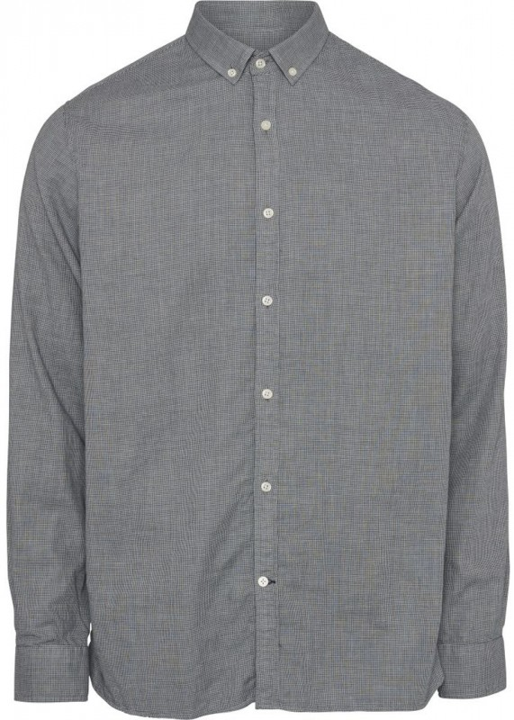 Knowledge Cotton Apparel Button Down Hemd Hahnentritt blau weiß