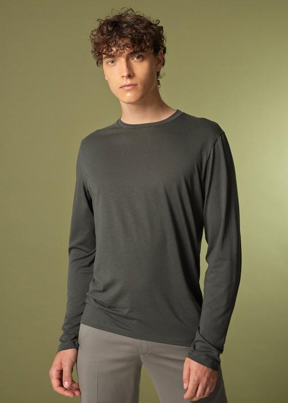 CORE - Langarmshirt aus Tencel, dark moss