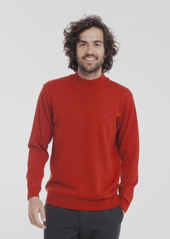 Thinking Mu Wine Turtle Neck Thin Sweater rot