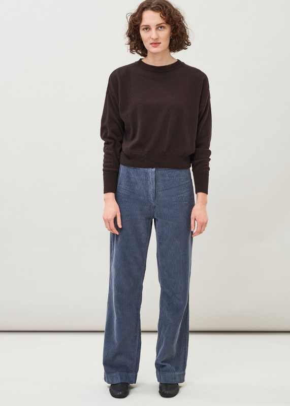 IA- Straight organic cotton corduroy trousers, thunder blue