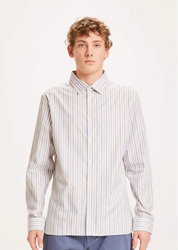 Hemd ELDER regular fit striped poplin shirt, GOTS/VEGAN, total eclipse
