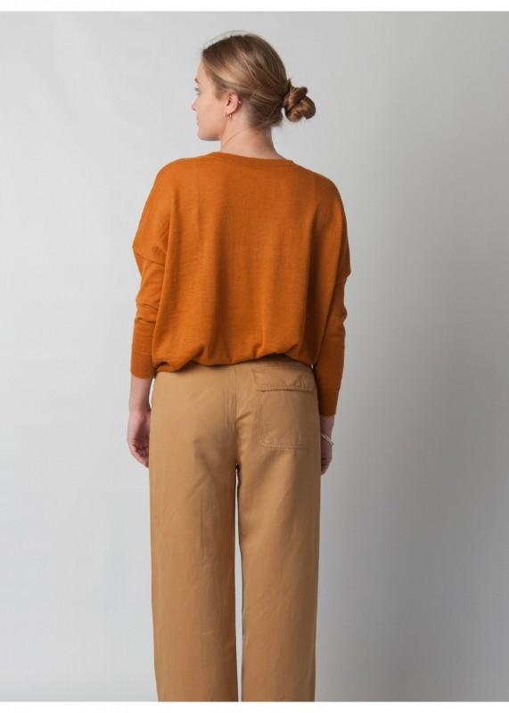 V - Pullover aus Baby Alpakawolle, turmeric orange