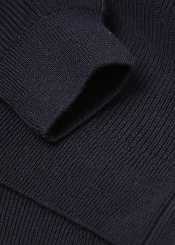 Strickpullover mit Zip-Kragen, nachtblau