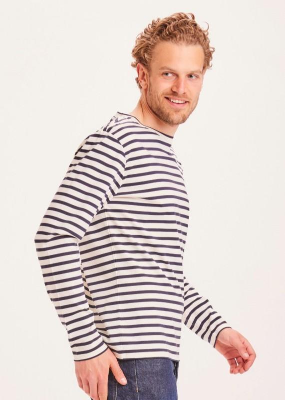 LOCUST striped interlock LS tee - GOTS/Vegan, navy white