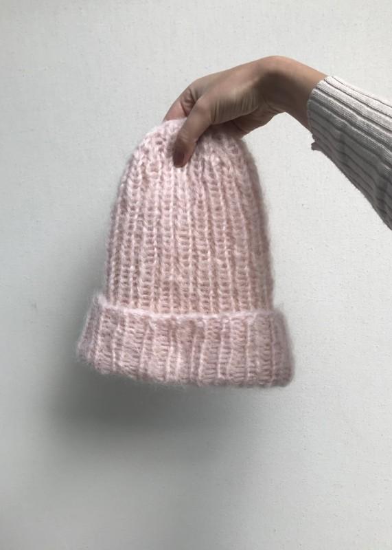 Christiane Buchholz Mütze, Mütze, handgestrickt, powder pink