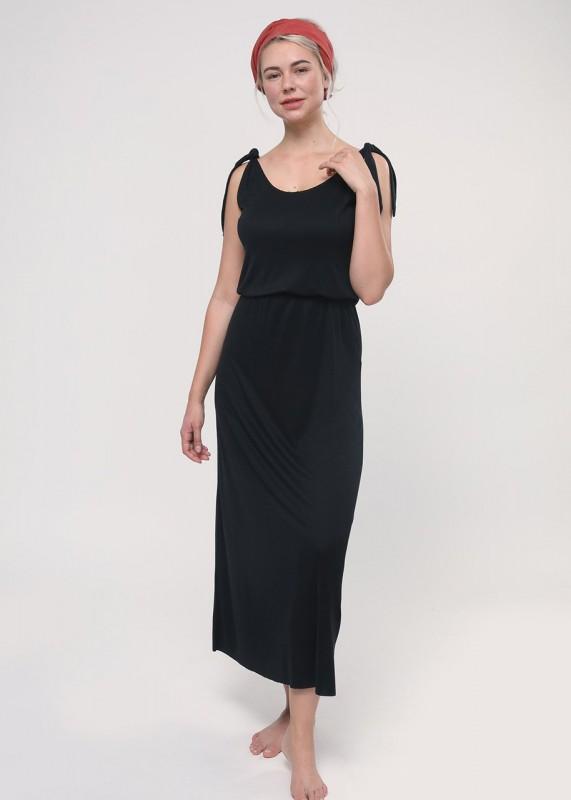 Lovjoi - Kleid RIBWORT MAXI aus Tencel, schwarz