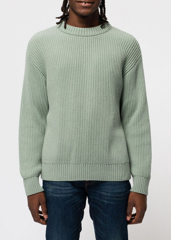 Nudie Pullover Frank Chunky Rib pale green