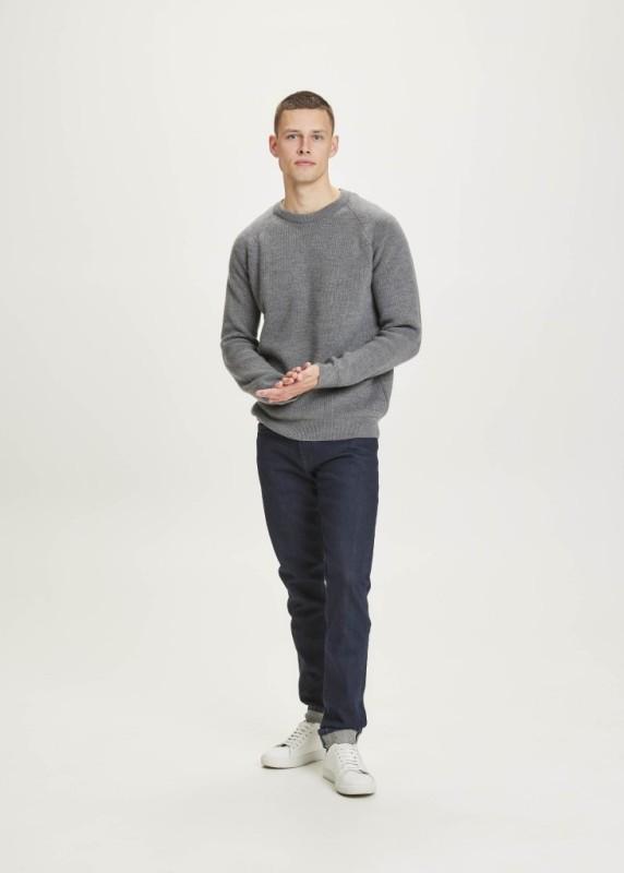 VALLEY O-neck merino wool rib knit - GOTS