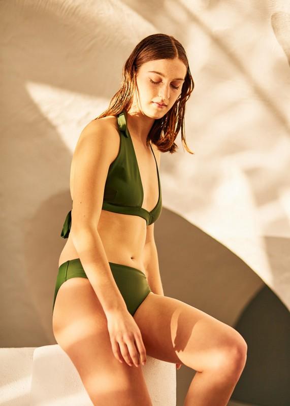 Kowtow Bikini triangle top grün