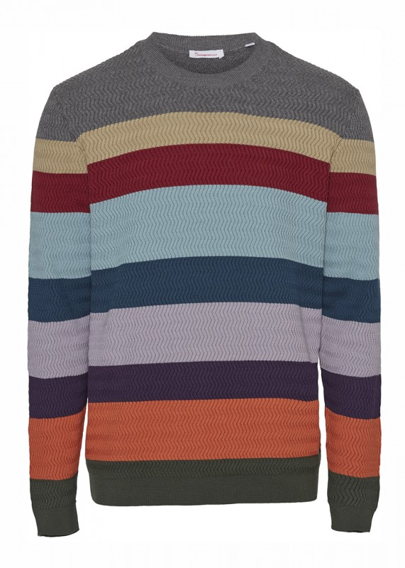 Pullover FIELD - multi striped knit - GOTS/Vegan