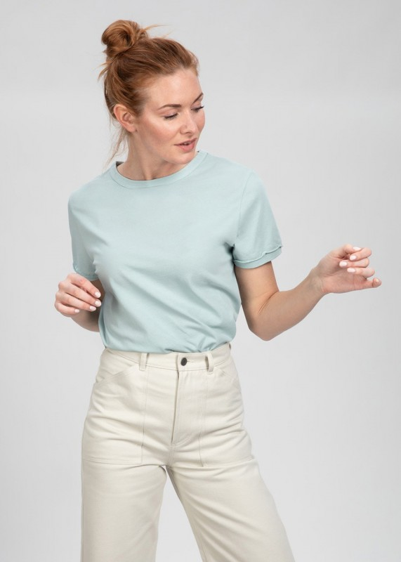 TONE Bio T-Shirt aus Baumwoll-Crepe, mint