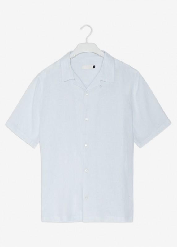 KUNO Kurzarm Hemd aus Leinen, striped sky