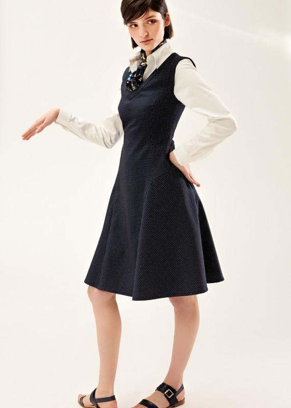 Annette Rufeger Kleid mit Pünktchen blau