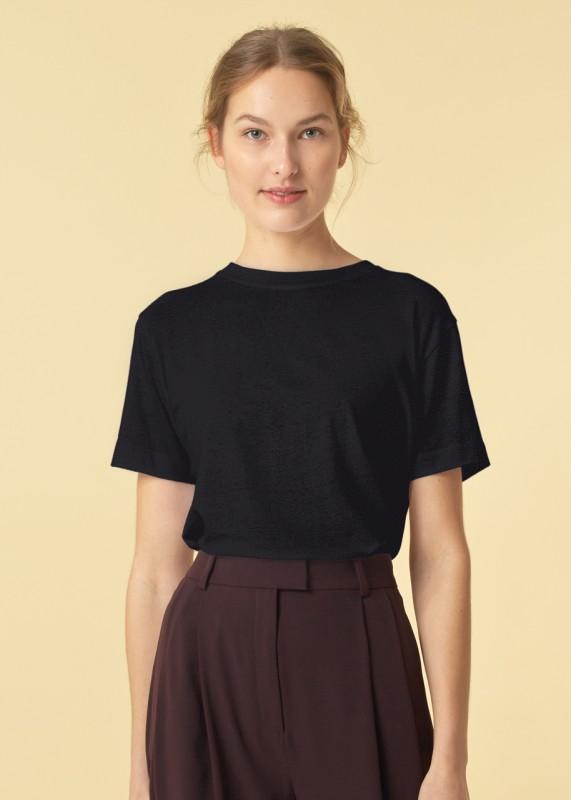 Funtkionschnitt, T-Shirt Batty Leinen schwarz