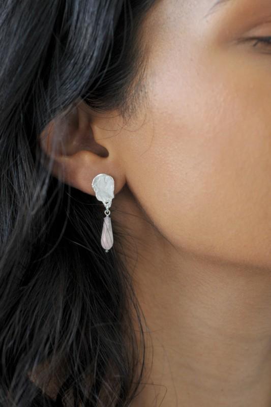 Wild Fawn Jewellery - Rose Quartz Briolette Organic Drop Stud Earrings