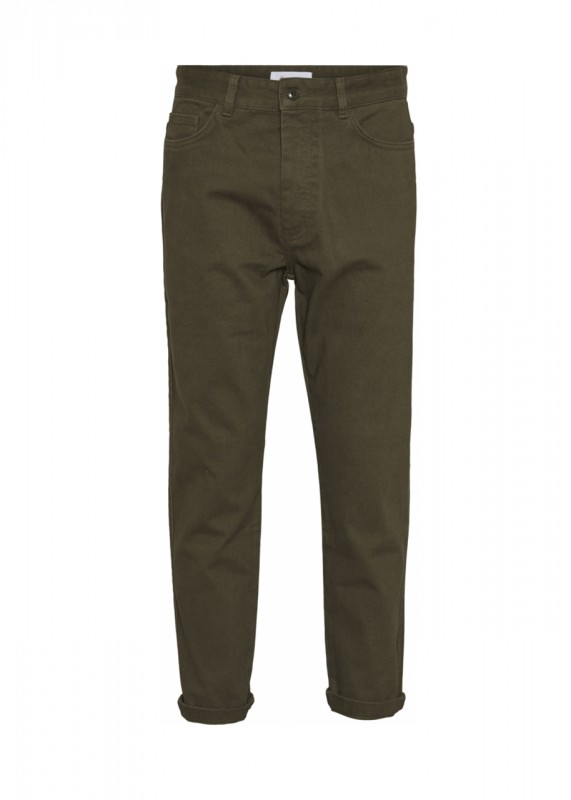 Knowledge Cotton Apparel - BOB loose heavy twill pant, forrest green